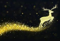 Weihnachtsrenschattenbild mit goldenen funkelnden Lichtern Stockfotografie