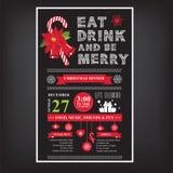 Weihnachtsrestaurant und Parteimenü, Einladung Stockfotografie