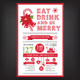 Weihnachtsrestaurant und Parteimenü, Einladung Stockfotos