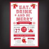 Weihnachtsrestaurant und Parteimenü, Einladung Lizenzfreie Stockfotos