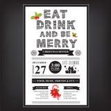 Weihnachtsrestaurant und Parteimenü, Einladung Lizenzfreie Stockfotografie