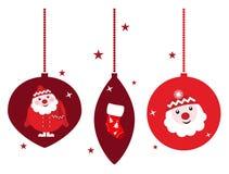 WeihnachtsRetro- Dekorationset getrennt auf Weiß Stockfoto