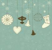 WeihnachtsRetro- Hintergrund mit Spielwaren. Lizenzfreie Stockfotografie