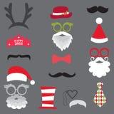 Weihnachtsretro- Partei stellte - Gläser, Hüte, Lippen, Schnurrbärte, Maske ein Stockfoto