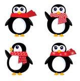 WeihnachtsRetro- Pinguinset Lizenzfreies Stockbild