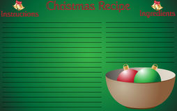 Weihnachtsrezept-Seiten-Schüssel Lizenzfreies Stockbild