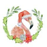 Weihnachtsrosa Flamingo in der Sankt-Hutaquarellillustration Lizenzfreie Stockfotos