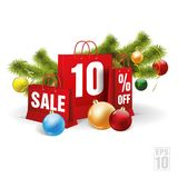 Weihnachtsrote Einkaufstasche druckte mit einem Rabatt zehn Vektor Stockfotografie