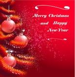 Weihnachtsrote Grußkarte Stockfoto
