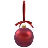 Weihnachtsroter Ball mit Bogen auf Weiß, Illustration 3d Lizenzfreie Stockbilder