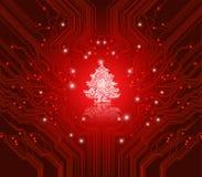 Weihnachtsroter Hintergrund - kreative Technologie Stockbild