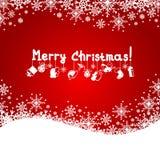 Weihnachtsroter Hintergrund mit Schneeflocken Lizenzfreie Stockfotografie