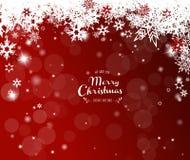 Weihnachtsroter Hintergrund mit weißen Schneeflocken Stockfoto
