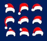 Weihnachtsroter Hut-Ikonensatz Santa Claus-Kostümvektorillustration Dekorationselement portreit Fotografie des neuen Jahres Lizenzfreie Abbildung