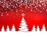 Weihnachtsroter Scheinhintergrund mit Baum Lizenzfreie Stockbilder