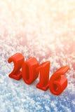 Weihnachtsroter Text des neuen Jahr-2016 auf dem Schnee Stockbild