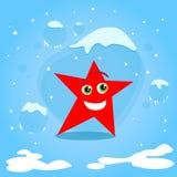 Weihnachtsrotes Stern-Zeichentrickfilm-Figur-Konzept Stockfoto