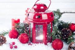 Weihnachtsrotlaterne Lizenzfreie Stockfotos