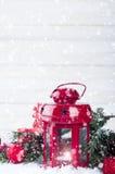 Weihnachtsrotlaterne Stockfoto