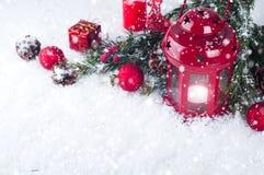Weihnachtsrotlaterne Lizenzfreie Stockfotografie