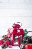 Weihnachtsrotlaterne Stockbild