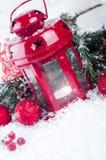 Weihnachtsrotlaterne Stockfotos