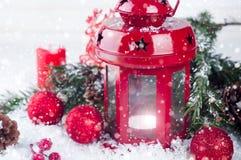 Weihnachtsrotlaterne Stockbilder