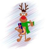 Weihnachtsrotwild mit Geschenkbox auf dem Hand gezeichneten Hintergrund Feiertagsdesign, Wintercharakter Stockbild