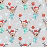 Weihnachtsrotwild mit nahtlosem Muster des Schnees stock abbildung