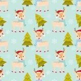 Weihnachtsrotwild mit nahtlosem Muster des Schnees und des Baums vektor abbildung