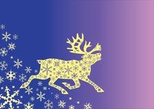 Weihnachtsrotwild mit Verzierungen und Schneeflocken Stockfotografie