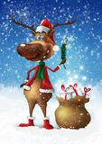 Weihnachtsrotwild mit Zweig lizenzfreie abbildung
