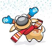 Weihnachtsrotwild-Spaßcharakter mit Handschuhen und Schal Lizenzfreies Stockbild
