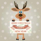 Weihnachtsrotwild wünscht frohe Weihnachten und guten Rutsch ins Neue Jahr Lizenzfreie Stockfotos