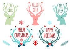 Weihnachtsrotwildgeweihe, Vektorsatz Stockbilder