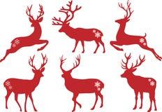 Weihnachtsrotwildhirsche, vektorset Lizenzfreies Stockfoto