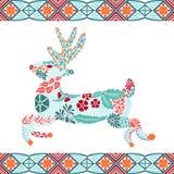 Weihnachtsrotwildmuster gemacht von den Blumen und von den Blättern, böhmische Art Lizenzfreies Stockbild