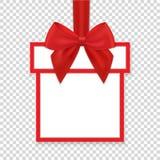 Weihnachtsrundenpapier-Geschenkfahne mit rotem Band und Bogen vektor abbildung