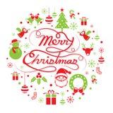 Weihnachtsrunder Aufkleber Stockbilder
