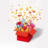 Weihnachtssüße Geschenkbox Offener Kasten 3d-red mit yum, Süßigkeit, Gelee, Bonbons Explosion von Papierkonfettis Festliche Überr stock abbildung