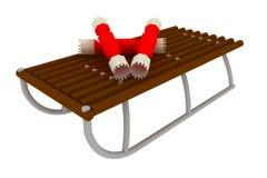 Weihnachtssüßigkeit auf Schlitten stockfoto