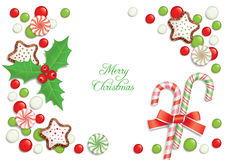Weihnachtssüßigkeitpostkarte Stockbild