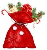 Weihnachtssack mit Geschenken Stockfotos