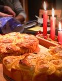 Weihnachtssafran-Kuchen stockbilder
