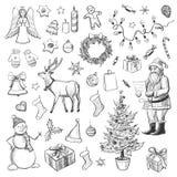 Weihnachtssammlung, Symbole, Charaktere und dekorative Elemente Von Hand gezeichnet Stockfotografie