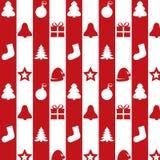 Weihnachtssatz auf einem roten und weißen Hintergrund Lizenzfreie Stockfotografie