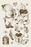 Weihnachtssatz, -bär, -kaninchen und -geschenke mit Sternen und Mond, Schneeflocken Winterweihnachtselemente für Kinder Das wenig lizenzfreie abbildung