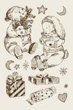 Weihnachtssatz, -bär, -kaninchen und -geschenke mit Sternen und Mond, Schneeflocken Winterweihnachtselemente für Kinder Eisbär in stock abbildung