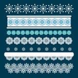 Weihnachtssatz Grenzen mit Schneeflocken Stockfotos