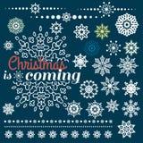 Weihnachtssatz Grenzen mit Schneeflocken Stockbilder